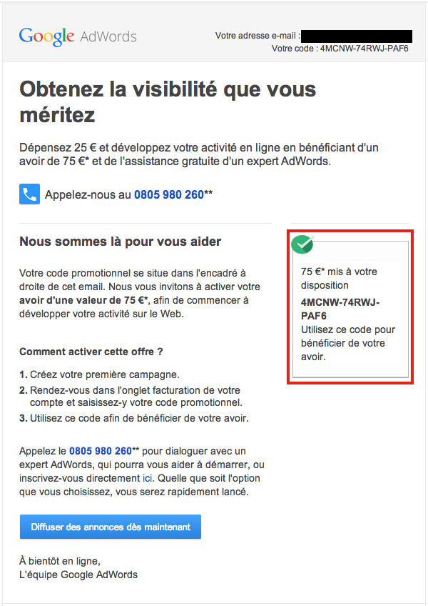 Code promo adwords1