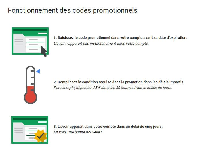Comment utiliser son code promo adwords