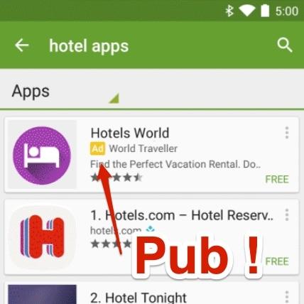 google play publicite