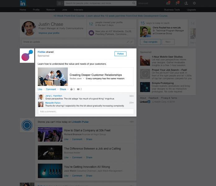 LinkedIn publicité
