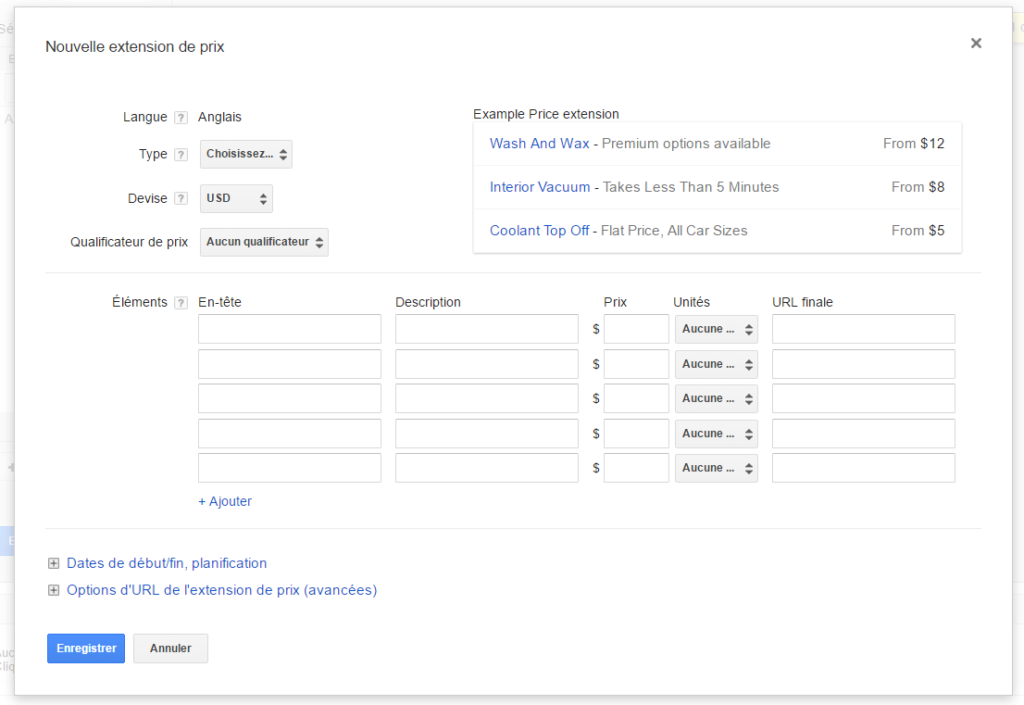 extensions de prix adwords