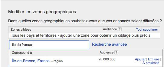 AdWords ciblage géographique