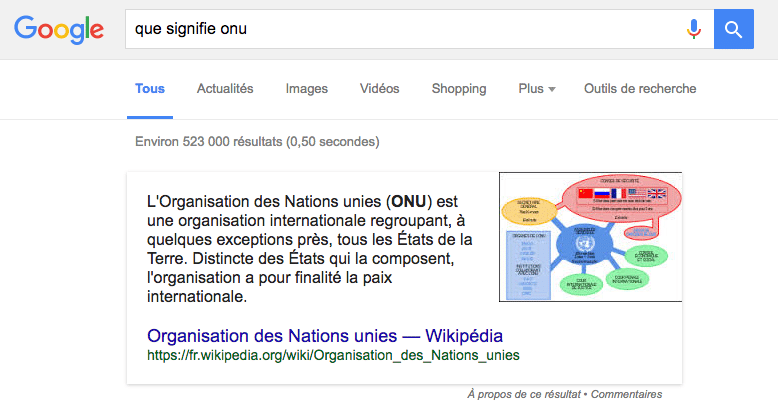 featured snippet pour cette question