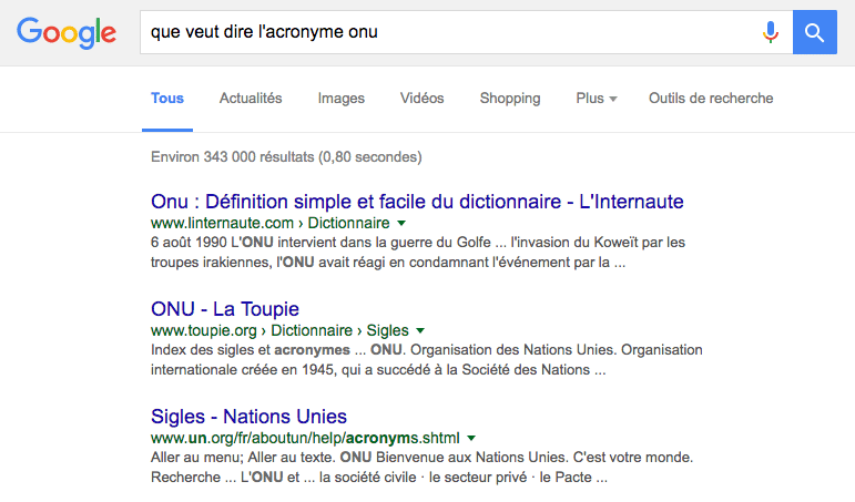 pas de featured snippet pour cette question