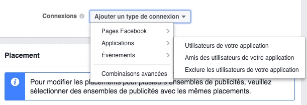 option de ciblage facebook